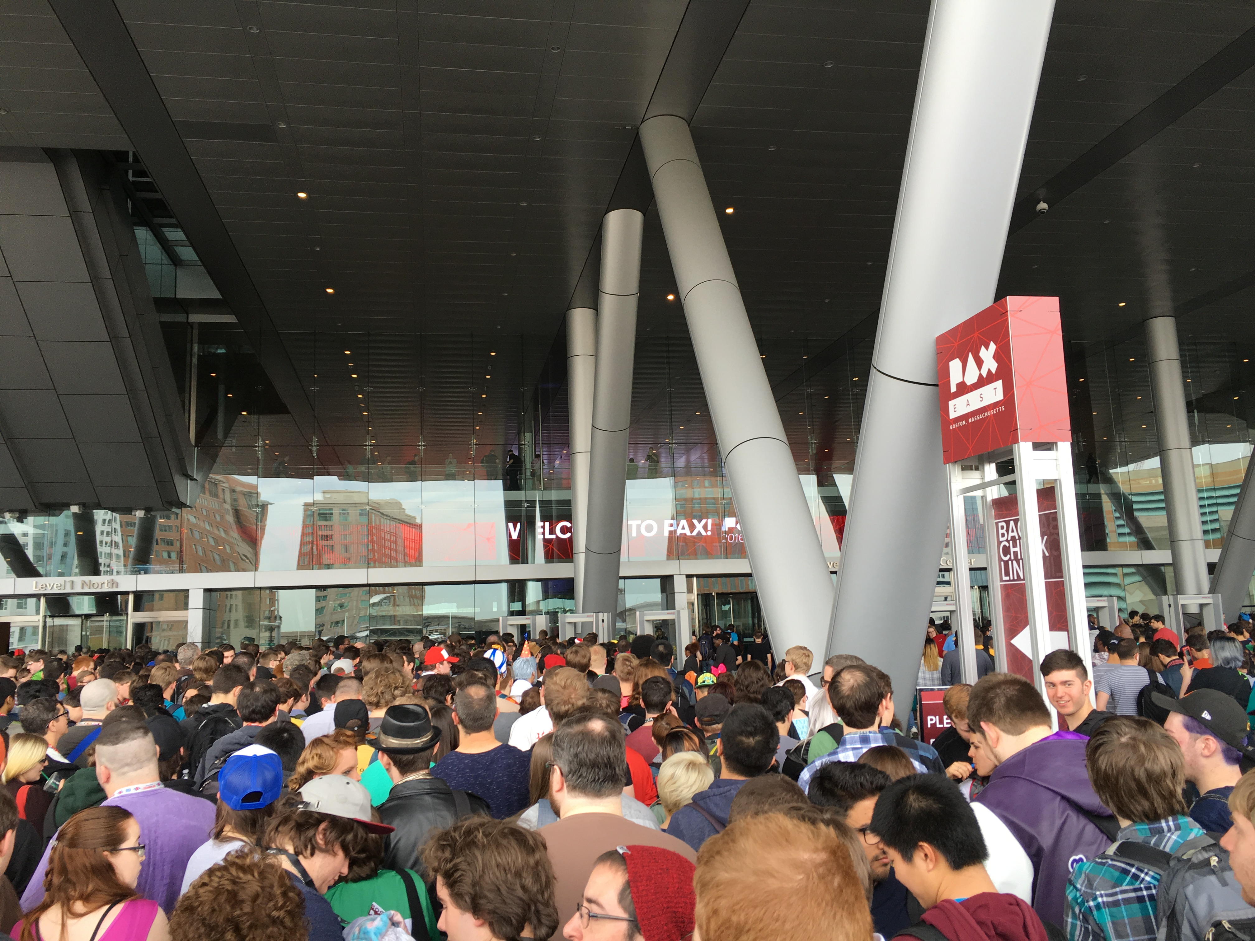 Line outside of the BCEC at Pax East 2016