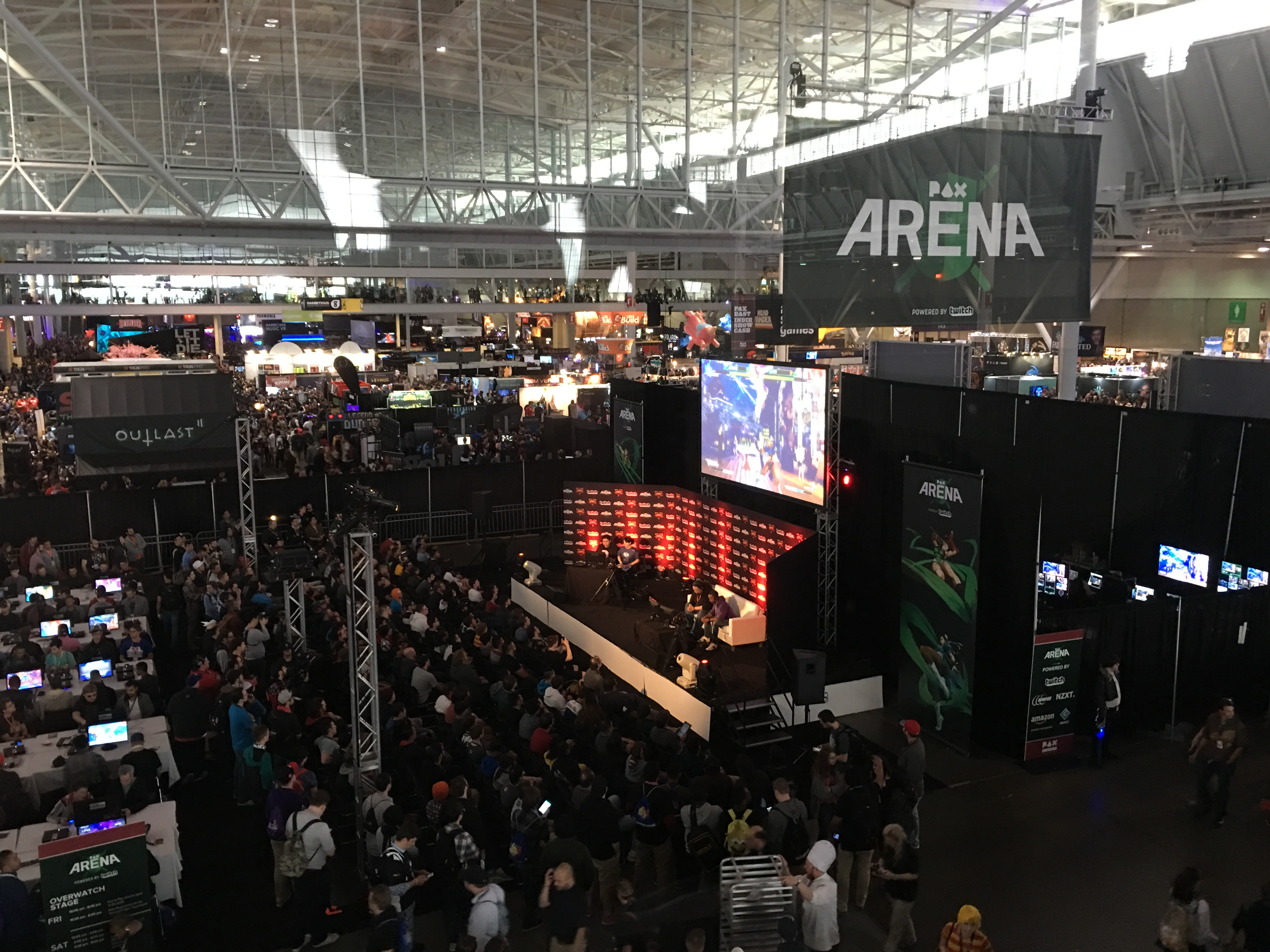 Overhead photo of the PAX Arena from the skywalk at the BCEC
